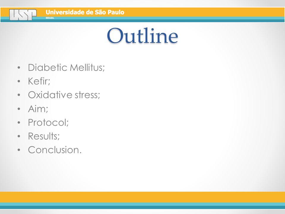 Outline Diabetic Mellitus; Kefir; Oxidative stress; Aim; Protocol; Results; Conclusion.