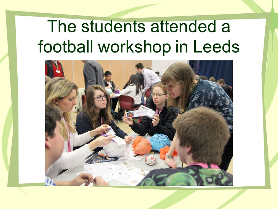 The students attended a football workshop in Leeds