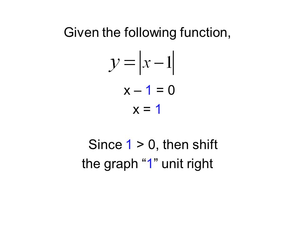 "Given the following function, x – 1 = 0 x = 1 Since 1 > 0, then shift the graph ""1"" unit right"