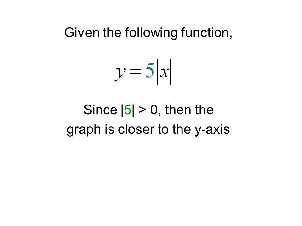 Given the following function, Since |5| > 0, then the graph is closer to the y-axis