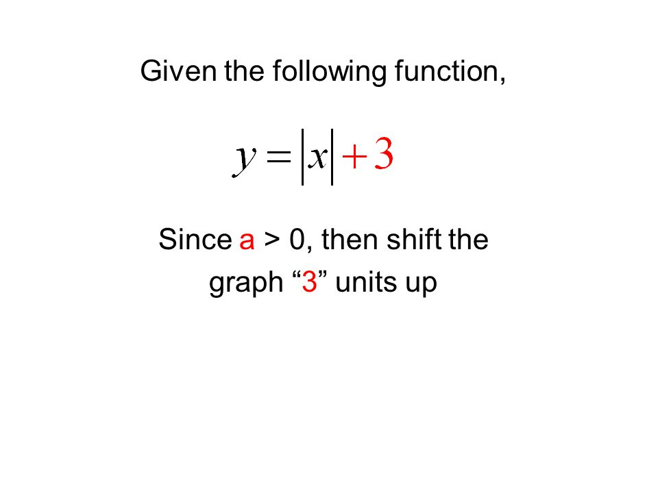 "Given the following function, Since a > 0, then shift the graph ""3"" units up"