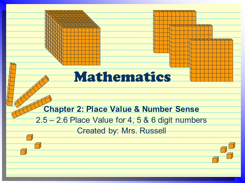 Mathematics Chapter 2: Place Value & Number Sense 2.5 – 2.6 Place Value for 4, 5 & 6 digit numbers Created by: Mrs. Russell