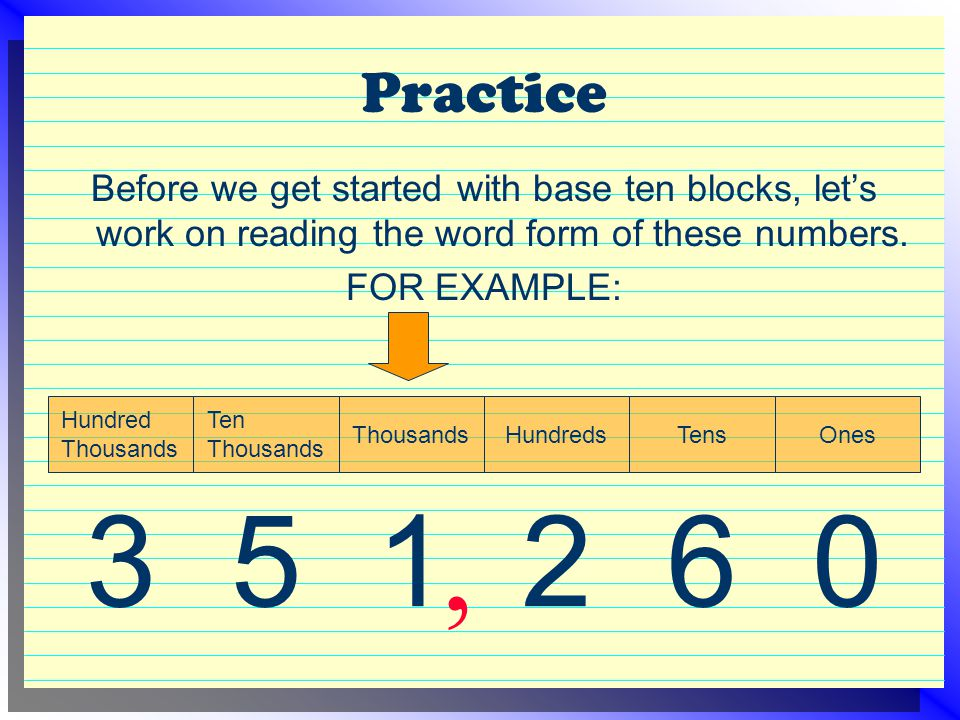 Practice Before we get started with base ten blocks, let's work on reading the word form of these numbers.