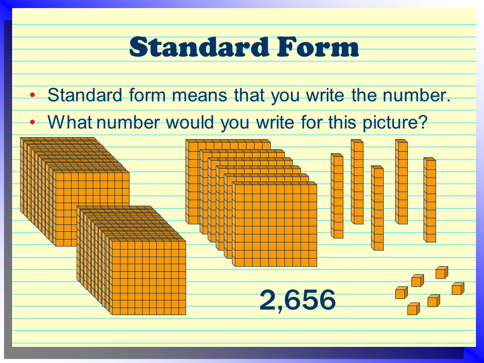 Standard Form Standard form means that you write the number.