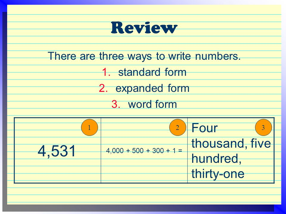 Review There are three ways to write numbers. 1.standard form 2.expanded form 3.word form 4,531 4,000 + 500 + 300 + 1 = Four thousand, five hundred, t