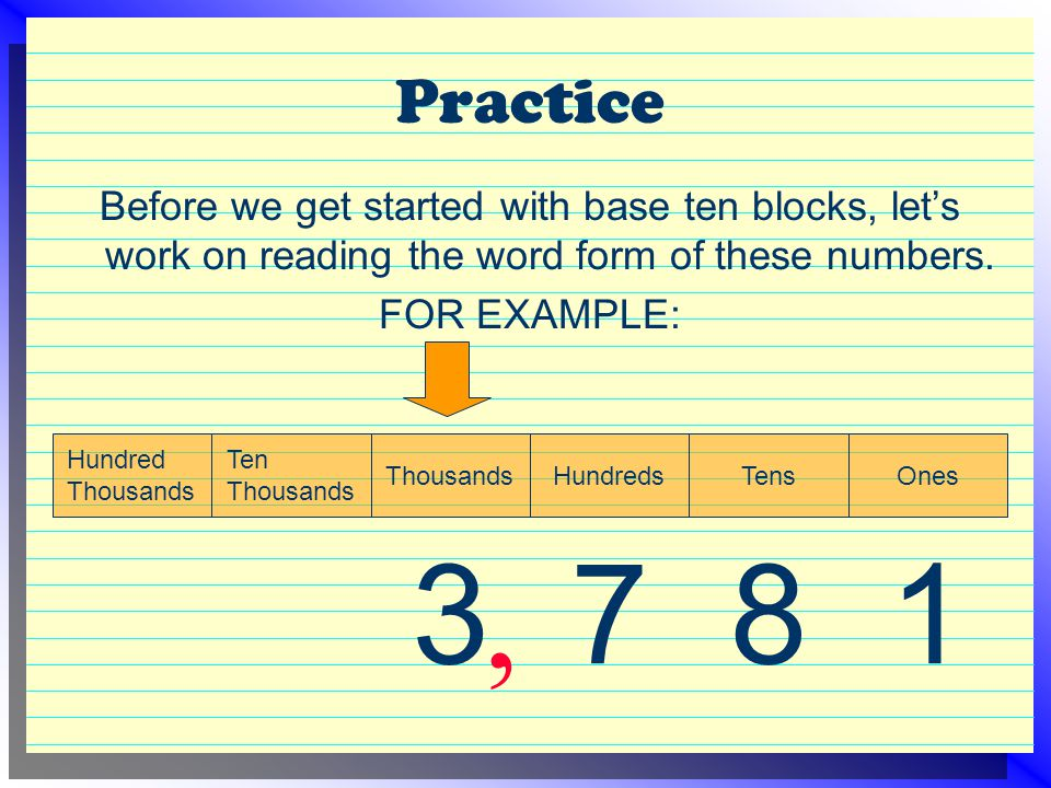 Practice Before we get started with base ten blocks, let's work on reading the word form of these numbers. FOR EXAMPLE: 1 Ones 8 Tens 7 Hundreds 3 Tho