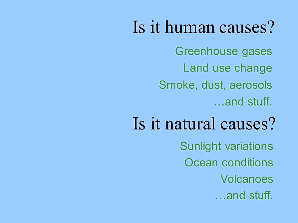 Is it human causes. Greenhouse gases Land use change Smoke, dust, aerosols …and stuff.
