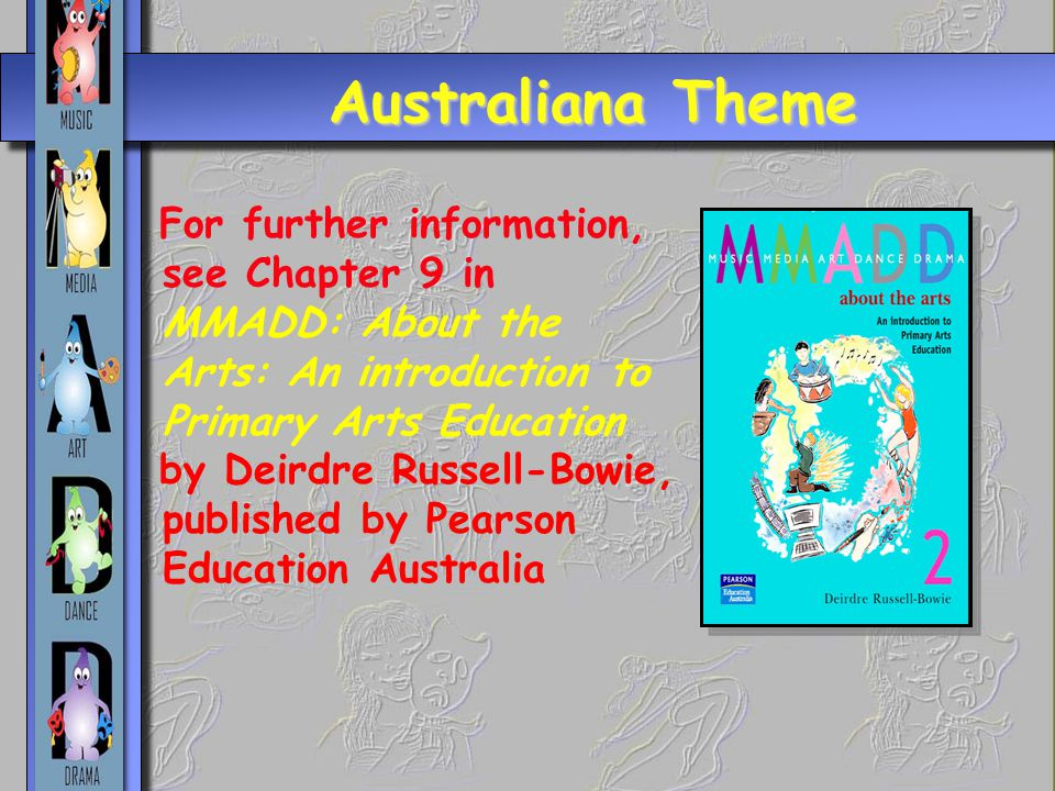 Australiana Theme For further information, see Chapter 9 in MMADD: About the Arts: An introduction to Primary Arts Education by Deirdre Russell-Bowie,