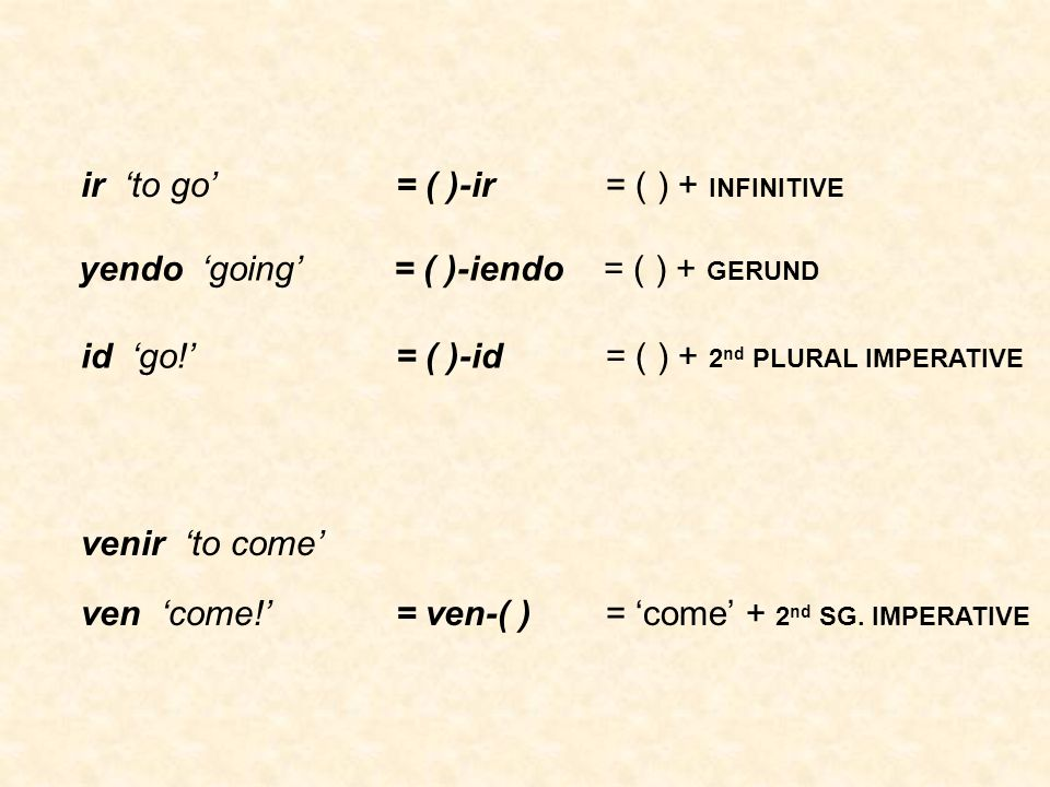ir 'to go'= ( )-ir = ( ) + INFINITIVE yendo 'going'= ( )-iendo = ( ) + GERUND id 'go!'= ( )-id = ( ) + 2 nd PLURAL IMPERATIVE venir 'to come' ven 'come!'= ven-( )= 'come' + 2 nd SG.