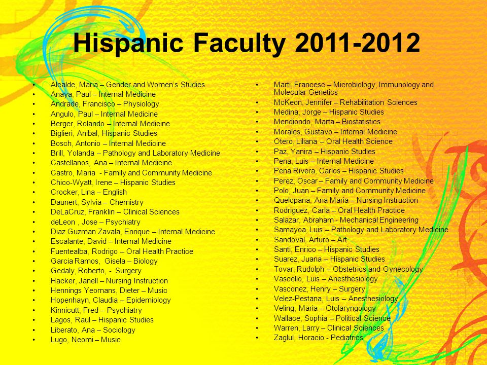 Hispanic Faculty 2011-2012 Alcalde, Maria – Gender and Women's Studies Anaya, Paul – Internal Medicine Andrade, Francisco – Physiology Angulo, Paul – Internal Medicine Berger, Rolando – Internal Medicine Biglieri, Anibal, Hispanic Studies Bosch, Antonio – Internal Medicine Brill, Yolanda – Pathology and Laboratory Medicine Castellanos, Ana – Internal Medicine Castro, Maria - Family and Community Medicine Chico-Wyatt, Irene – Hispanic Studies Crocker, Lina – English Daunert, Sylvia – Chemistry DeLaCruz, Franklin – Clinical Sciences deLeon, Jose – Psychiatry Diaz Guzman Zavala, Enrique – Internal Medicine Escalante, David – Internal Medicine Fuentealba, Rodrigo – Oral Health Practice Garcia Ramos, Gisela – Biology Gedaly, Roberto, - Surgery Hacker, Janell – Nursing Instruction Hennings Yeomans, Dieter – Music Hopenhayn, Claudia – Epidemiology Kinnicutt, Fred – Psychiatry Lagos, Raul – Hispanic Studies Liberato, Ana – Sociology Lugo, Neomi – Music Marti, Francesc – Microbiology, Immunology and Molecular Genetics McKeon, Jennifer – Rehabilitation Sciences Medina, Jorge – Hispanic Studies Mendiondo, Marta – Biostatistics Morales, Gustavo – Internal Medicine Otero, Liliana – Oral Health Science Paz, Yanira – Hispanic Studies Pena, Luis – Internal Medicine Pena Rivera, Carlos – Hispanic Studies Perez, Oscar – Family and Community Medicine Polo, Juan – Family and Community Medicine Quelopana, Ana Maria – Nursing Instruction Rodriguez, Carla – Oral Health Practice Salazar, Abraham - Mechanical Engineering Samayoa, Luis – Pathology and Laboratory Medicine Sandoval, Arturo – Art Santi, Enrico – Hispanic Studies Suarez, Juana – Hispanic Studies Tovar, Rudolph – Obstetrics and Gynecology Vascello, Luis – Anesthesiology Vasconez, Henry – Surgery Velez-Pestana, Luis – Anesthesiology Veling, Maria – Otolaryngology Wallace, Sophia – Political Science Warren, Larry – Clinical Sciences Zaglul, Horacio - Pediatrics