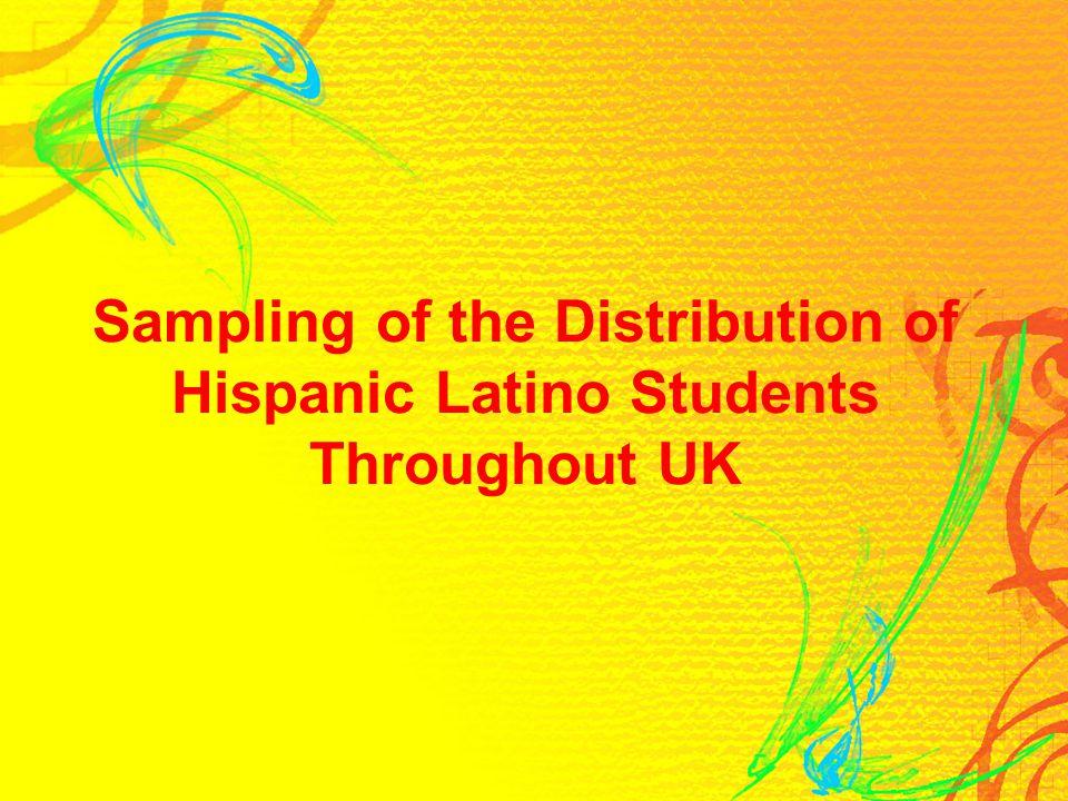 Sampling of the Distribution of Hispanic Latino Students Throughout UK