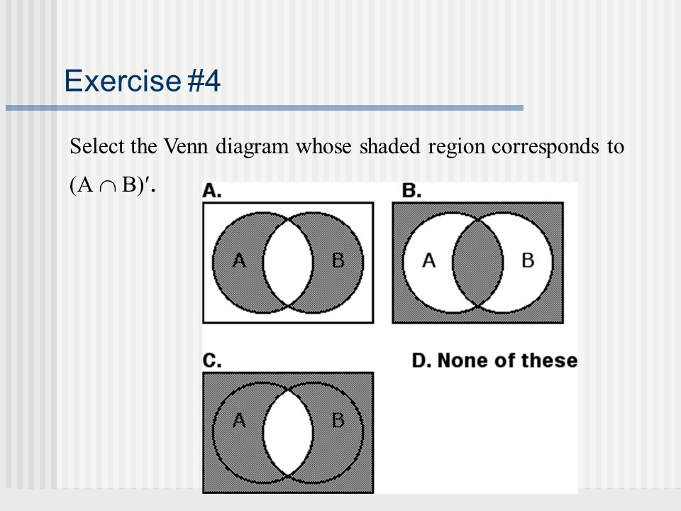 Exercise #4 Select the Venn diagram whose shaded region corresponds to (A  B).