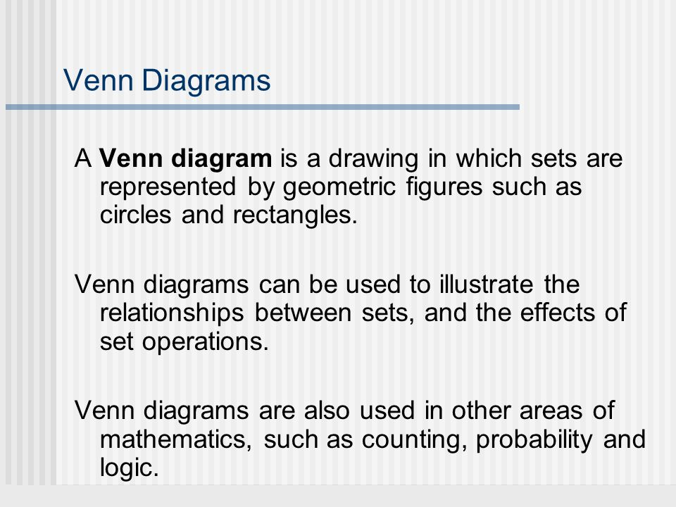 Venn Diagrams A Venn diagram is a drawing in which sets are represented by geometric figures such as circles and rectangles. Venn diagrams can be used