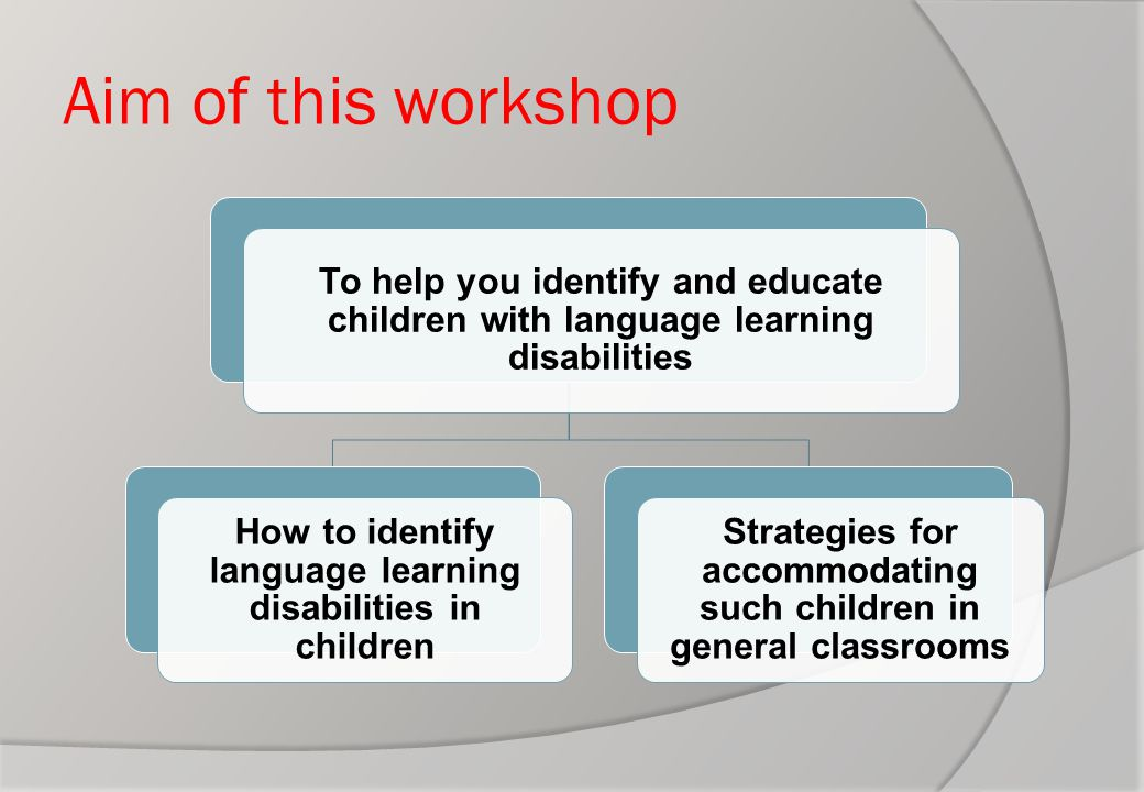 Aim of this workshop To help you identify and educate children with language learning disabilities How to identify language learning disabilities in c