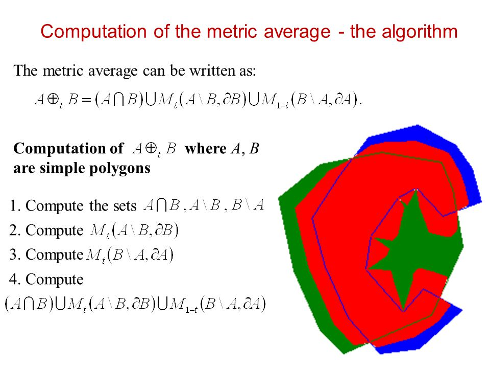 Connectedness of the metric average (2) Several propositions considering metric connectedness, for example: Proposition: Let be simple polygons and be metric faces,.