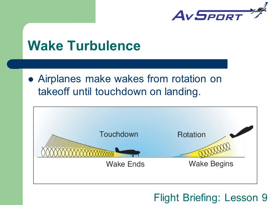Flight Briefing: Lesson 9 Wake Turbulence Airplanes make wakes from rotation on takeoff until touchdown on landing.