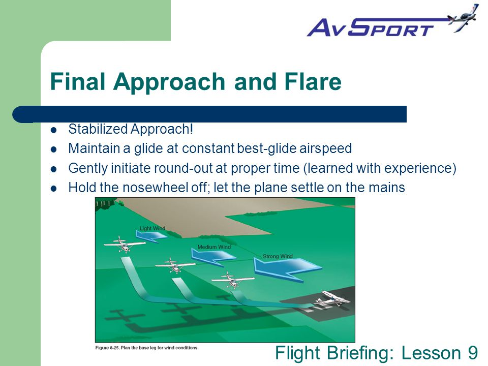 Flight Briefing: Lesson 9 Final Approach and Flare Stabilized Approach.
