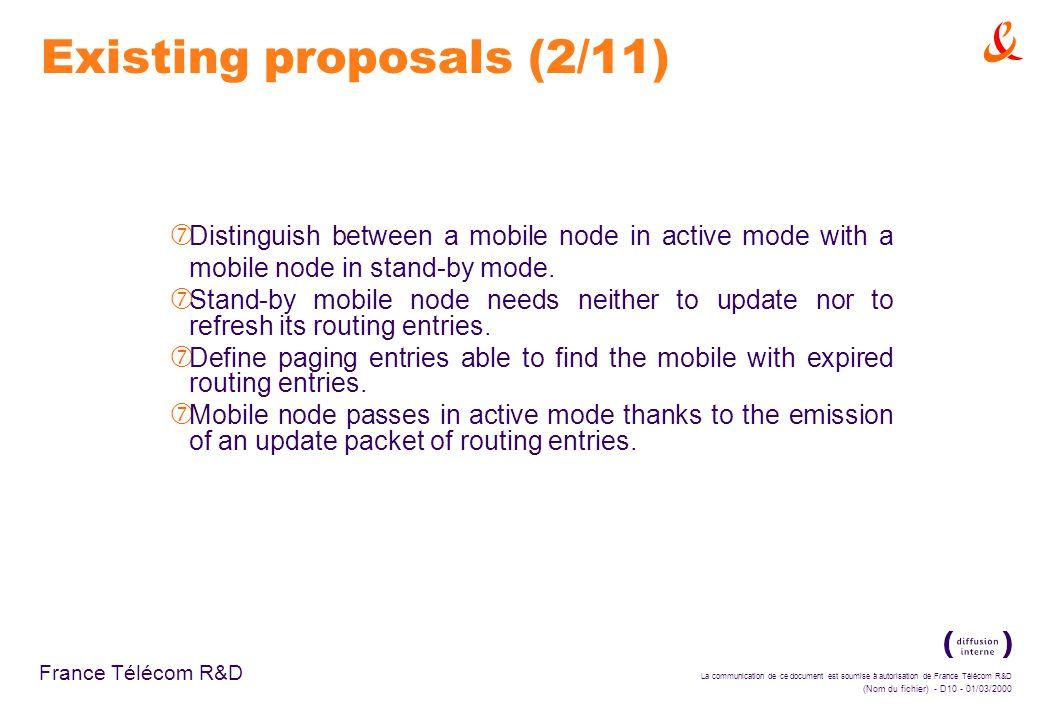 La communication de ce document est soumise à autorisation de France Télécom R&D (Nom du fichier) - D10 - 01/03/2000 France Télécom R&D Existing proposals (2/11) ‡ Distinguish between a mobile node in active mode with a mobile node in stand-by mode.
