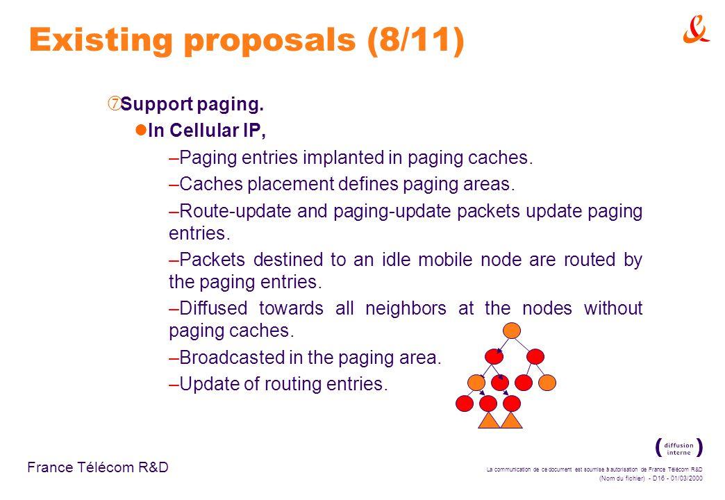 La communication de ce document est soumise à autorisation de France Télécom R&D (Nom du fichier) - D16 - 01/03/2000 France Télécom R&D Existing proposals (8/11) ‡ Support paging.