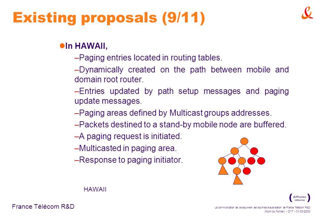 La communication de ce document est soumise à autorisation de France Télécom R&D (Nom du fichier) - D17 - 01/03/2000 France Télécom R&D Existing proposals (9/11) In HAWAII, –Paging entries located in routing tables.