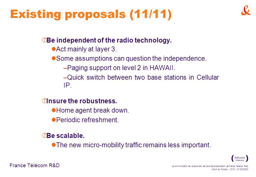 La communication de ce document est soumise à autorisation de France Télécom R&D (Nom du fichier) - D19 - 01/03/2000 France Télécom R&D Existing proposals (11/11) ‡ Be independent of the radio technology.