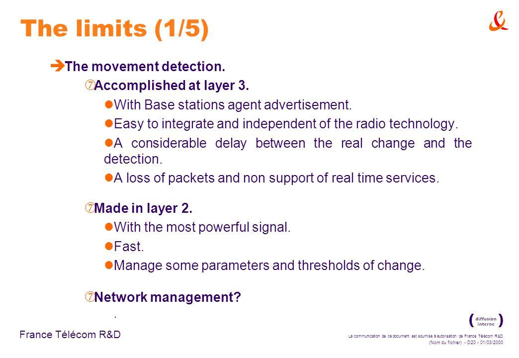 La communication de ce document est soumise à autorisation de France Télécom R&D (Nom du fichier) - D20 - 01/03/2000 France Télécom R&D The limits (1/5) è The movement detection.