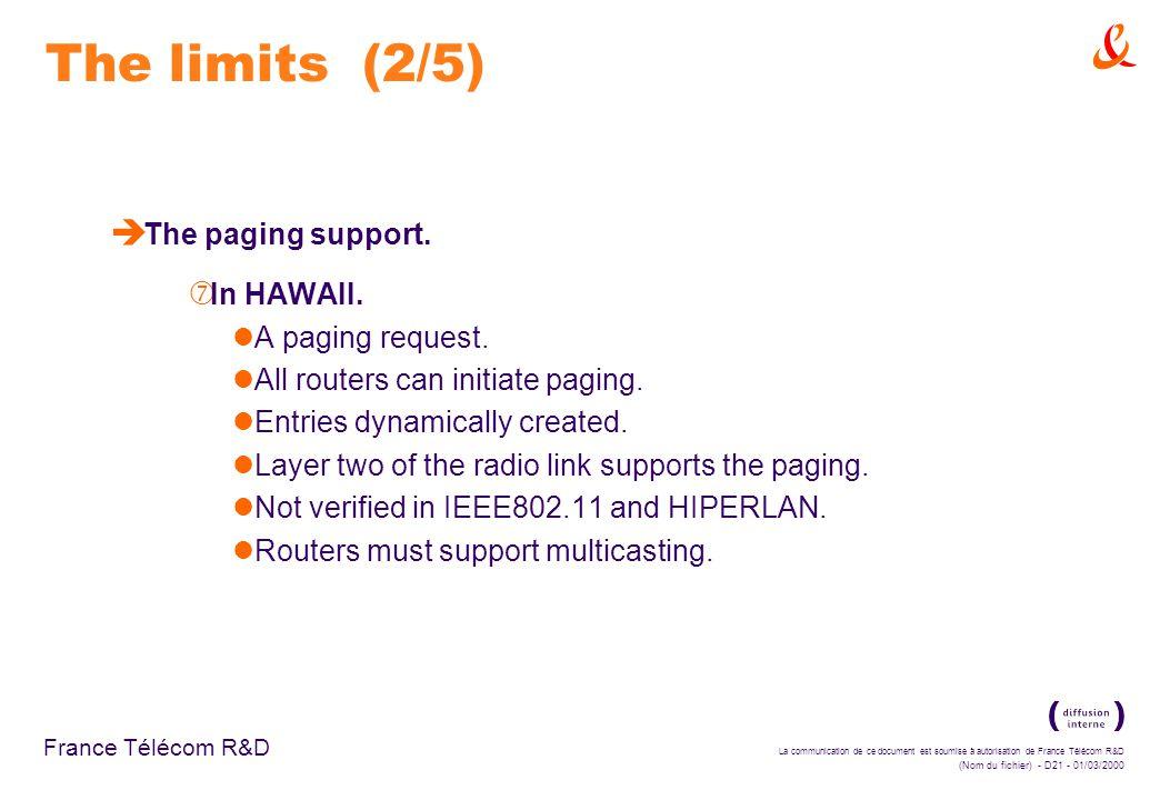La communication de ce document est soumise à autorisation de France Télécom R&D (Nom du fichier) - D21 - 01/03/2000 France Télécom R&D The limits (2/5) è The paging support.