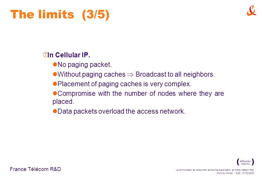 La communication de ce document est soumise à autorisation de France Télécom R&D (Nom du fichier) - D22 - 01/03/2000 France Télécom R&D The limits (3/5) ‡ In Cellular IP.