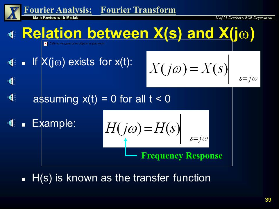 Fourier Analysis:Fourier Transform 38 Parseval's Theorem Let x(t) be an energy signal which has a Fourier transform X(j  ). n The energy of this sign