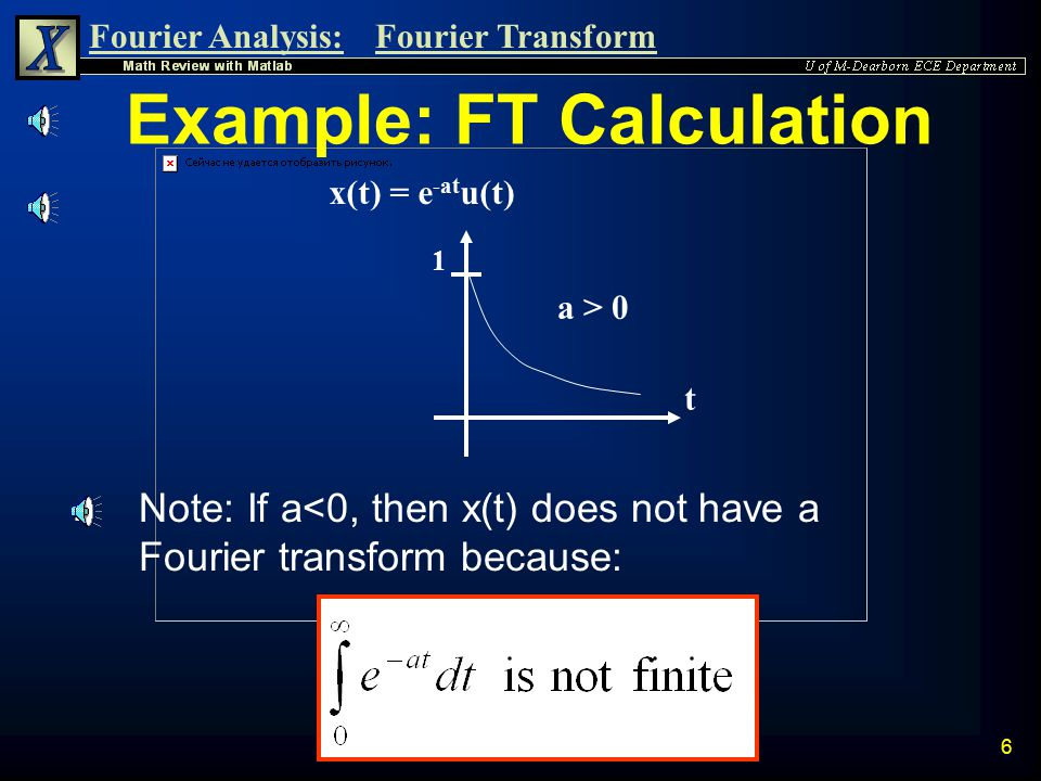 Fourier Analysis:Fourier Transform 5 Fourier Transform Representation n The Fourier Transform of an Energy Signal x(t) is found by using the following