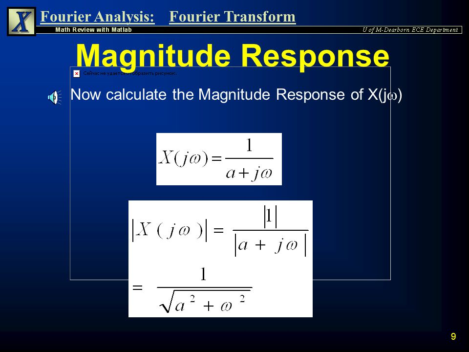 Fourier Analysis:Fourier Transform 8 Magnitude Response n Let us now find the Magnitude Response. The expression for the magnitude response of a fract