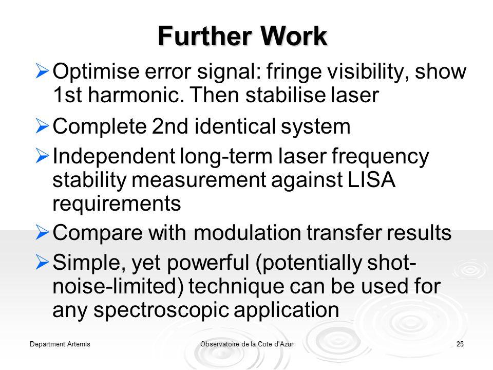 Department ArtemisObservatoire de la Cote d Azur25 Further Work   Optimise error signal: fringe visibility, show 1st harmonic.