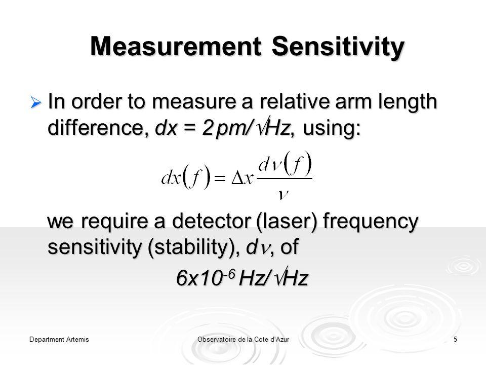 Department ArtemisObservatoire de la Cote d Azur5 Measurement Sensitivity  In order to measure a relative arm length difference, dx = 2 pm/  Hz, using: we require a detector (laser) frequency sensitivity (stability), d, of we require a detector (laser) frequency sensitivity (stability), d, of 6x10 -6 Hz/  Hz
