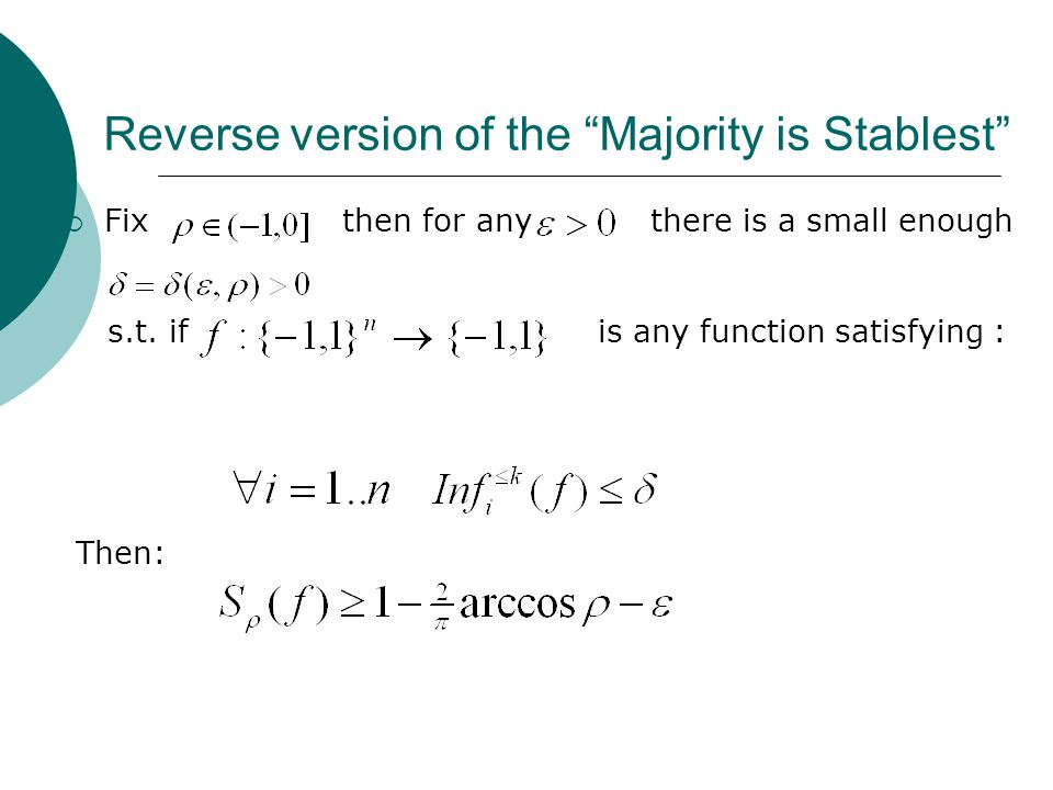 Reverse version of the Majority is Stablest  Fix then for any there is a small enough s.t.