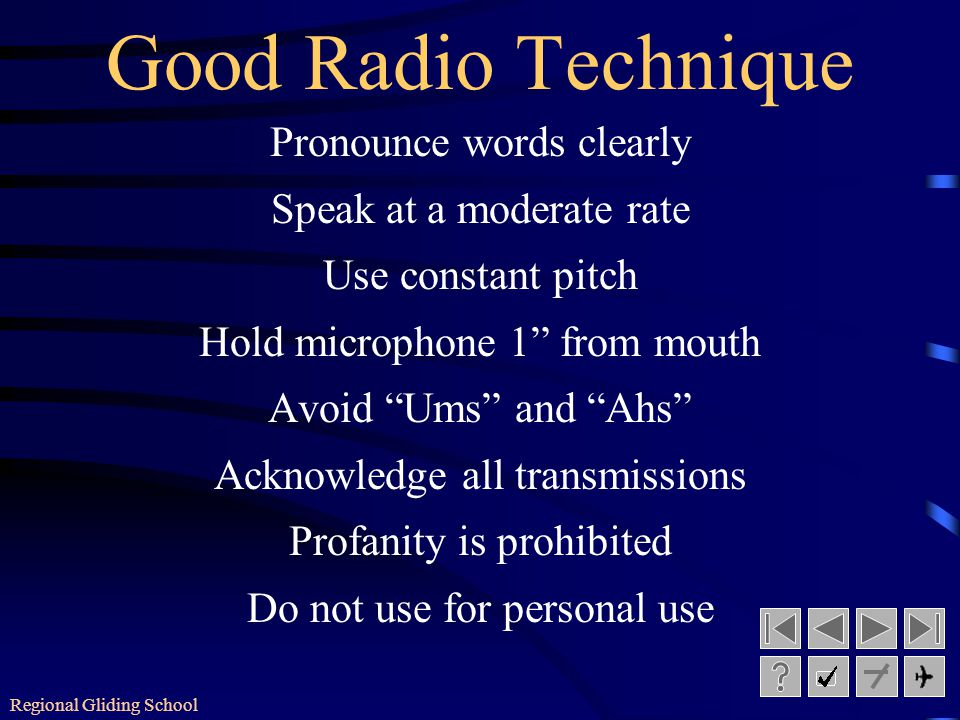 Regional Gliding School Radio Procedure Call up Reply Message Sydney Radio this is Glider Charlie Foxtrot Bravo Juliet Hotel Bravo Juliet Hotel this i