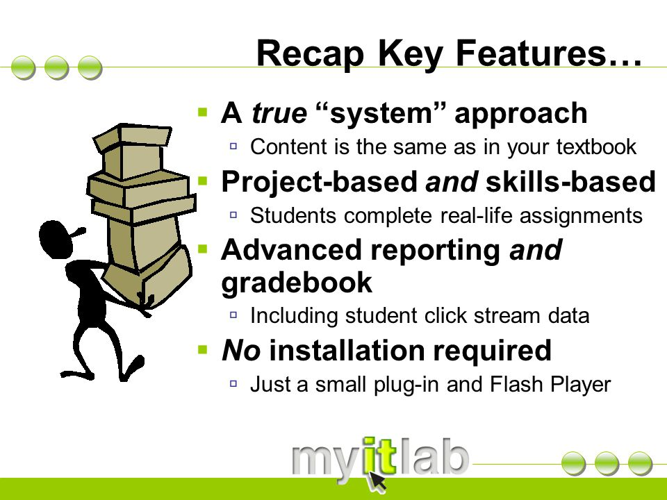"Recap Key Features…  A true ""system"" approach  Content is the same as in your textbook  Project-based and skills-based  Students complete real-lif"