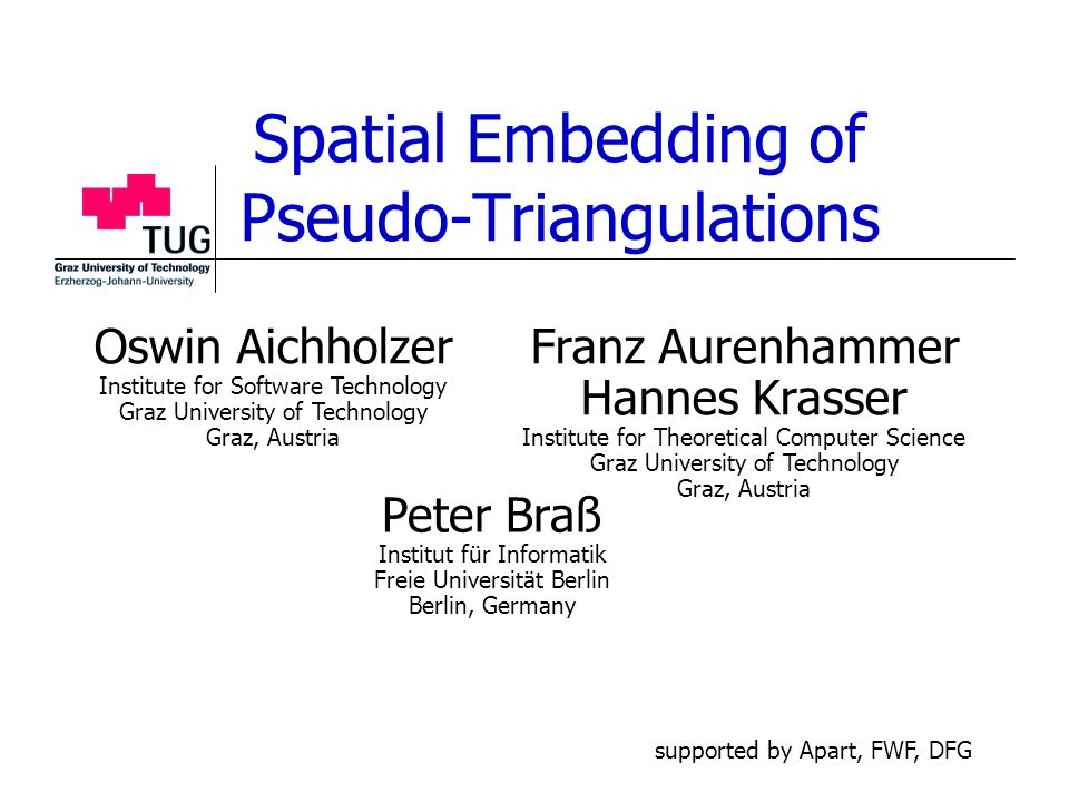 Spatial Embedding of Pseudo-Triangulations Peter Braß Institut für Informatik Freie Universität Berlin Berlin, Germany Franz Aurenhammer Hannes Krasse