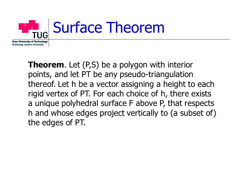 Surface Theorem Theorem. Let (P,S) be a polygon with interior points, and let PT be any pseudo-triangulation thereof. Let h be a vector assigning a he