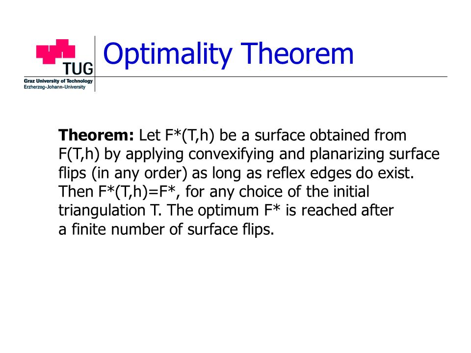 Optimality Theorem Theorem: Let F*(T,h) be a surface obtained from F(T,h) by applying convexifying and planarizing surface flips (in any order) as long as reflex edges do exist.