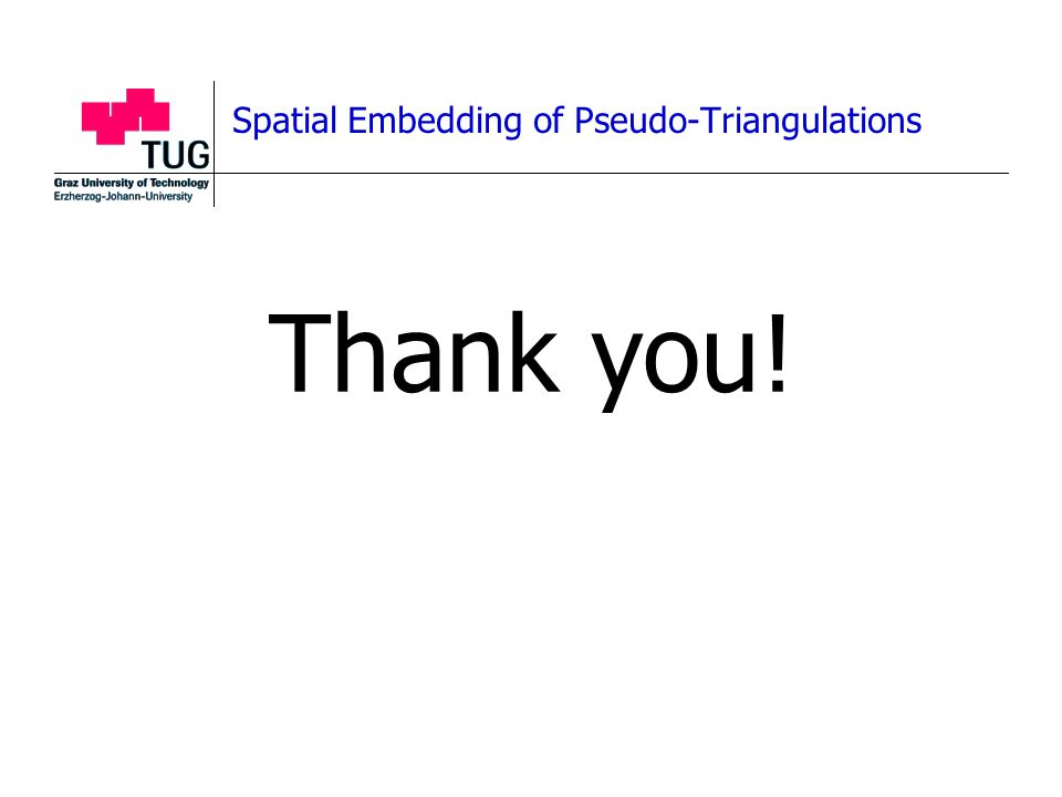 Spatial Embedding of Pseudo-Triangulations Thank you!