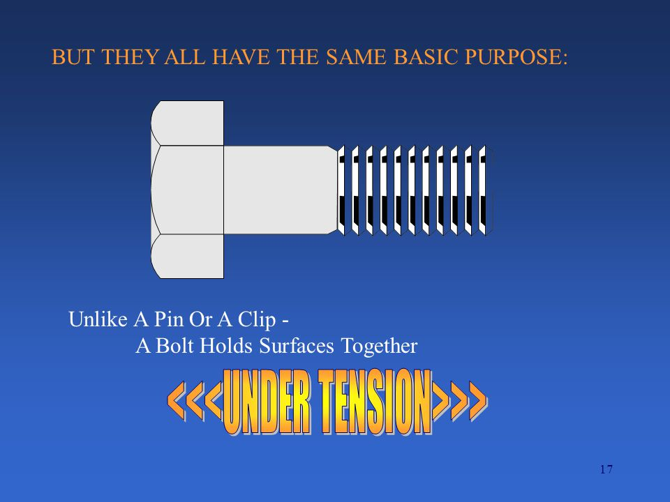 17 BUT THEY ALL HAVE THE SAME BASIC PURPOSE: Unlike A Pin Or A Clip - A Bolt Holds Surfaces Together