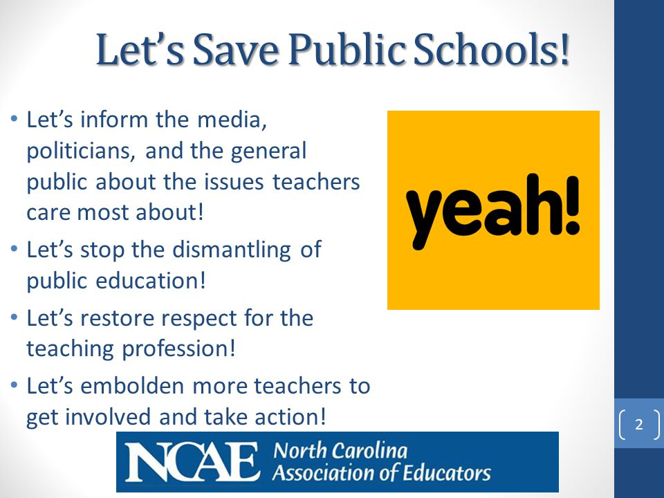 Let's Save Public Schools! Let's inform the media, politicians, and the general public about the issues teachers care most about! Let's stop the disma