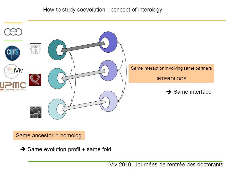iViv 2010, Journées de rentrée des doctorants How to study coevolution : concept of interology Same ancestor = homolog  Same evolution profil + same