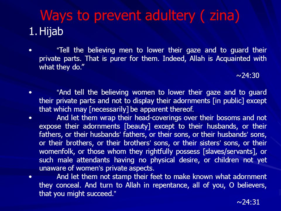 """Punishments Set by Allah 1. Adultery For the adulteress and the adulterer: """" Flog each of them 100 times, and let not your pity for them keep you from"""