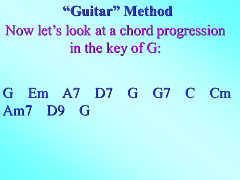 Now let's look at a chord progression in the key of G: Guitar Method G Em A7 D7 G G7 C Cm Am7 D9 G