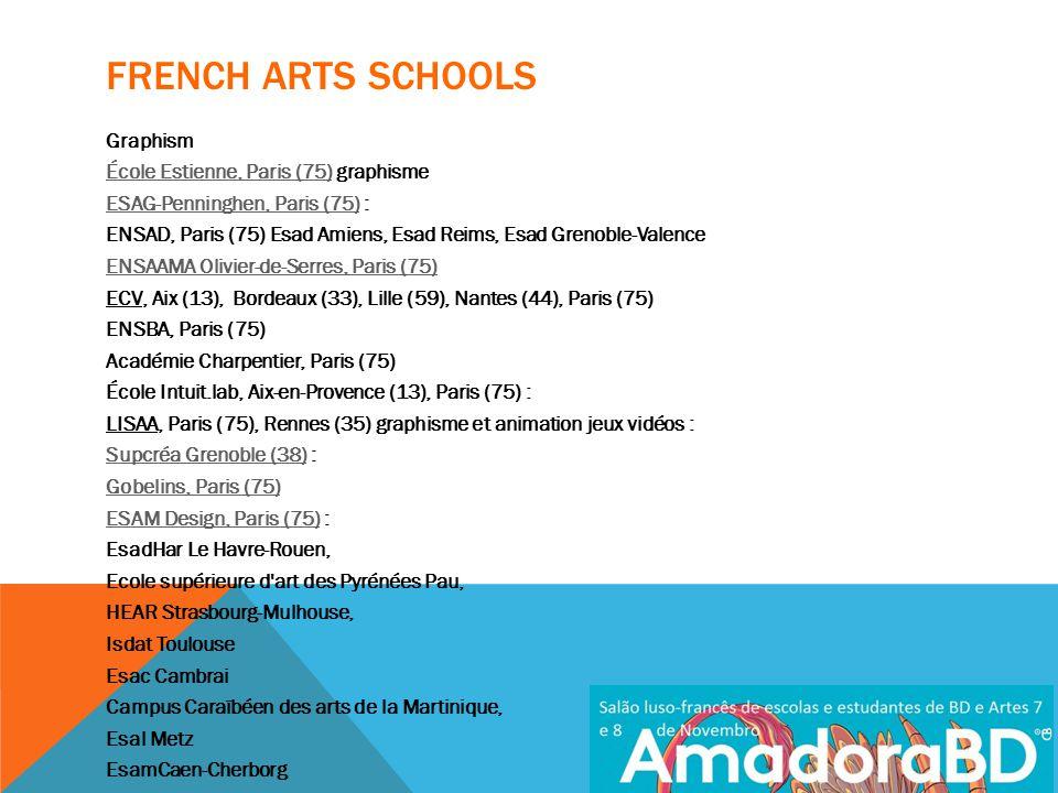 FRENCH ARTS SCHOOLS Graphism École Estienne, Paris (75)École Estienne, Paris (75) graphisme ESAG-Penninghen, Paris (75)ESAG-Penninghen, Paris (75) : ENSAD, Paris (75) Esad Amiens, Esad Reims, Esad Grenoble-Valence ENSAAMA Olivier-de-Serres, Paris (75) ECV, Aix (13), Bordeaux (33), Lille (59), Nantes (44), Paris (75) ENSBA, Paris (75) Académie Charpentier, Paris (75) École Intuit.lab, Aix-en-Provence (13), Paris (75) : LISAA, Paris (75), Rennes (35) graphisme et animation jeux vidéos : Supcréa Grenoble (38)Supcréa Grenoble (38) : Gobelins, Paris (75) ESAM Design, Paris (75)ESAM Design, Paris (75) : EsadHar Le Havre-Rouen, Ecole supérieure d art des Pyrénées Pau, HEAR Strasbourg-Mulhouse, Isdat Toulouse Esac Cambrai Campus Caraïbéen des arts de la Martinique, Esal Metz EsamCaen-Cherborg