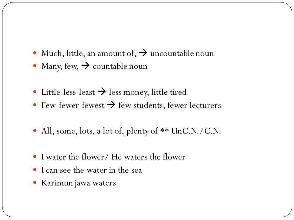 Much, little, an amount of,  uncountable noun Many, few,  countable noun Little-less-least  less money, little tired Few-fewer-fewest  few student