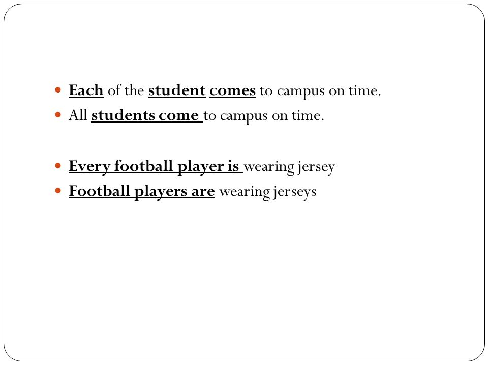 Each of the student comes to campus on time. All students come to campus on time. Every football player is wearing jersey Football players are wearing