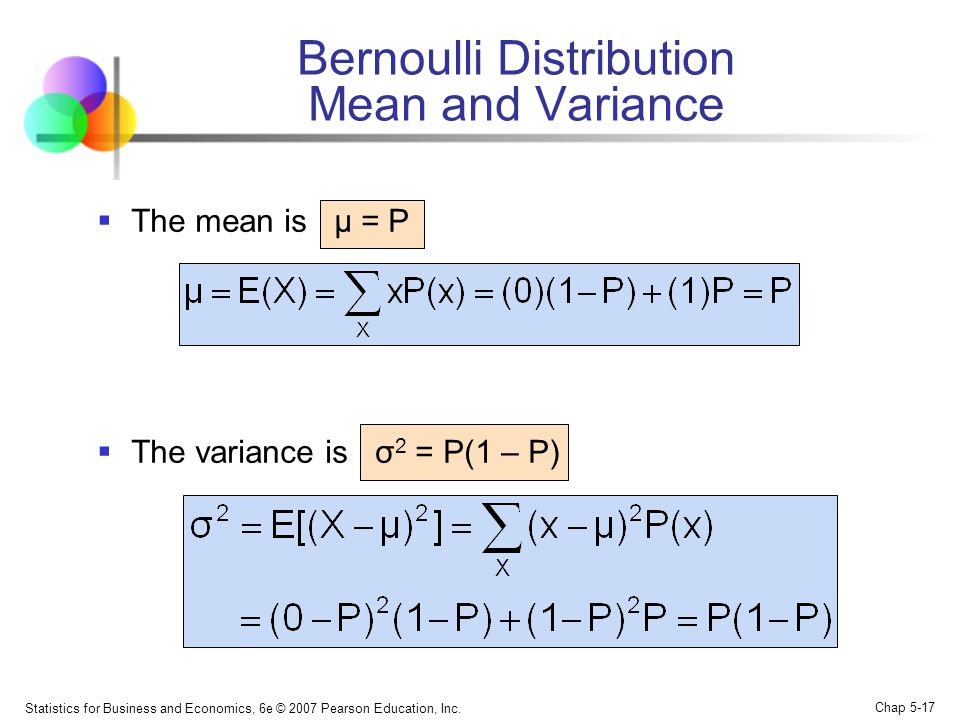 Statistics for Business and Economics, 6e © 2007 Pearson Education, Inc. Chap 5-17 Bernoulli Distribution Mean and Variance  The mean is µ = P  The