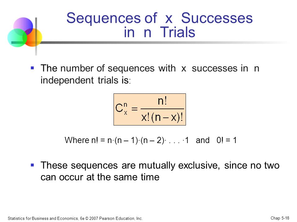 Statistics for Business and Economics, 6e © 2007 Pearson Education, Inc. Chap 5-18 Sequences of x Successes in n Trials  The number of sequences with